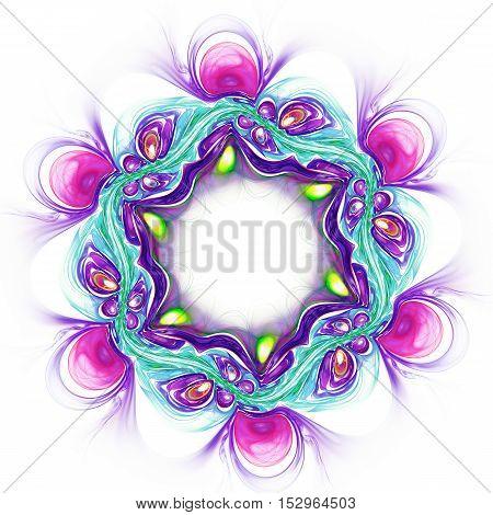 Abstract vilet flower on white background. Fractal artwork for creative design.