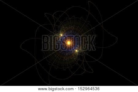 fractal pattern ofabstract fractal pattern of thin contour yellow blue lines red on a black background isolated contour lines