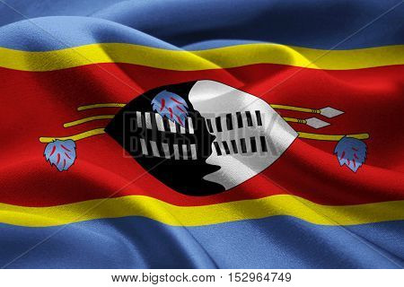 Image of the national flag of Swaziland blowing in the wind