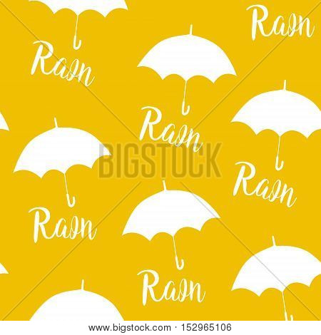 Seamless pattern with white umbrellas and lettering rain. Vector yellow background.