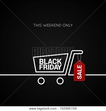 Black Friday sale tag and shopping cart line background 10 eps