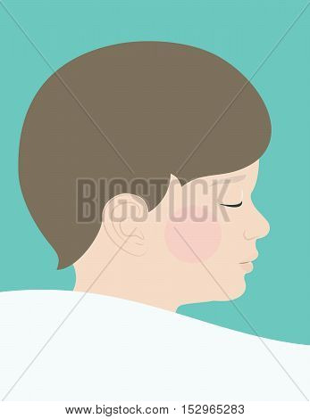 a realistic boy child sleeping on pillow facial profile illustration eps