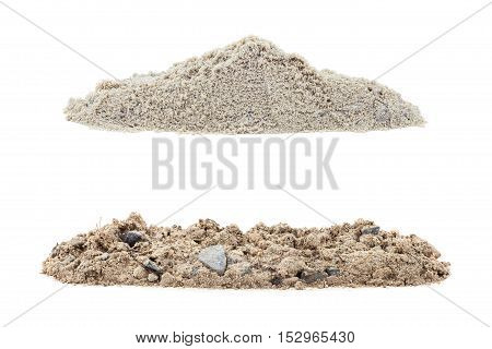 Pile of dry soil isolated on white background