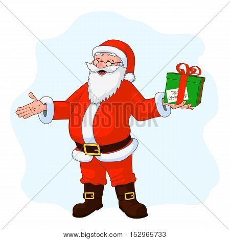Jolly plump Santa Claus with divorced hands and gift box. Vector Illustration