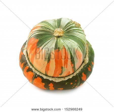 Unusual Orange And Green Striped Turban Squash