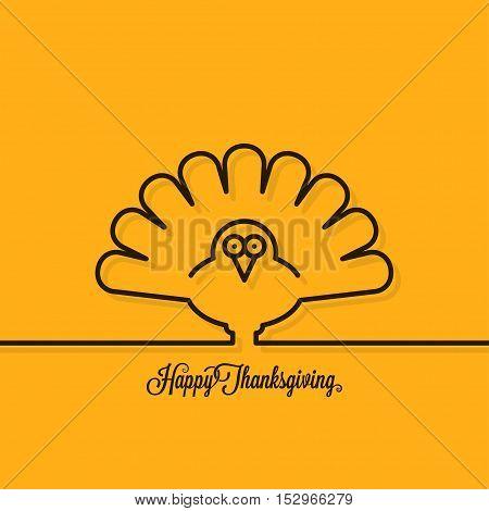 Thanksgiving turkey line on yellow background 10 eps