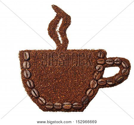 Ground coffee and coffee beans in the shape of a cup of coffee isolated on white
