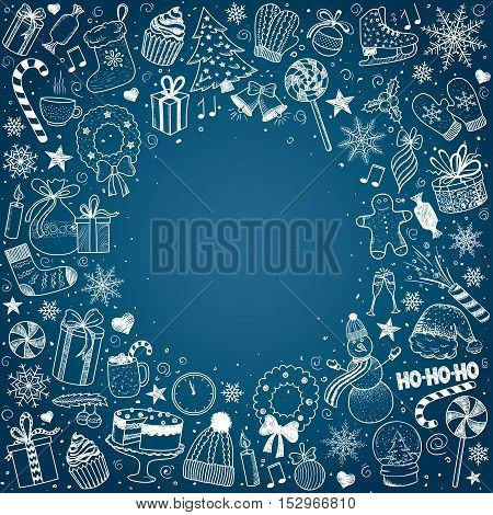 Christmas and New Year - sketch doodle set. Various hand-drawn items arranged as frame on a blue background. Vector illustration with copyspase