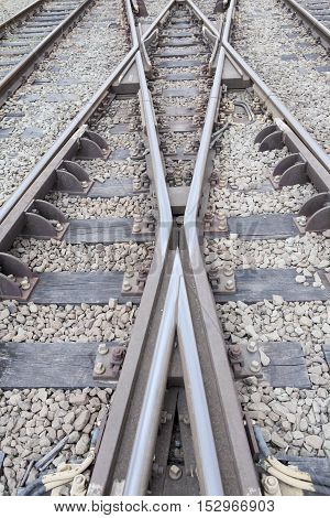 Close up of railway tracks and with switcher