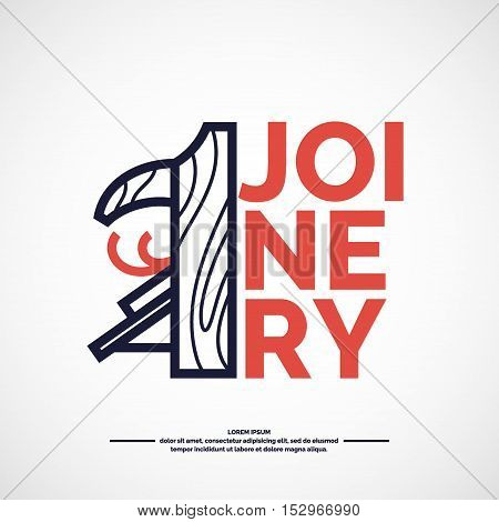 Joinery products poster. Vector logo carpentry workshop.
