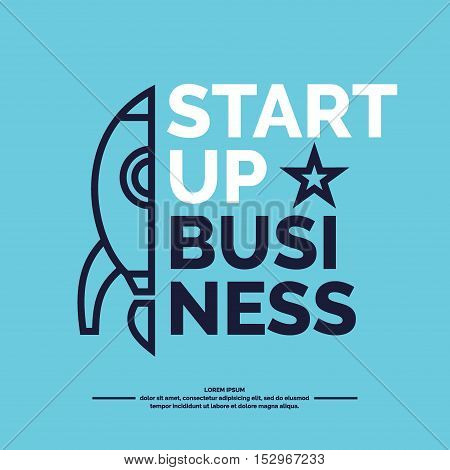 Start up. Income and success. Business poster. Icons and illustrations for design website advertising