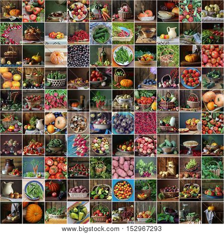 Collage from still lifes with vegetables, berries and fruit in a rustic style. Food, harvest.