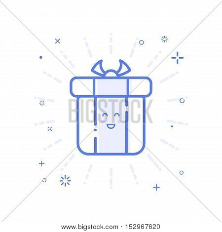 Vector illustration of icon shopping concept delivery servicein in line style. Linear blue gift or bounty. Design for internet, banner, web page and mobile app. Outline object e-commerce.