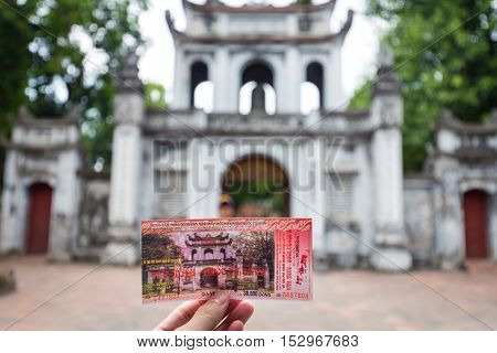 Hanoi Vietnam - September 20 2016: Close focus on ticket in front of gate of temple of literature or Van Mieu - Quoc Tu Giam the first university in Vietnam