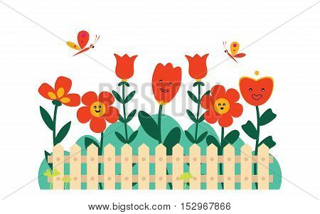 Beautiful garden with different flowers and butterflies behind the fence
