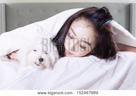 Attractive woman sleeping with cute puppy under a blanket in the bedroom
