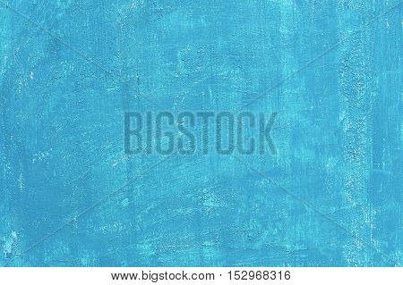 Painted bright blue aged background, acrylic paints