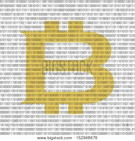 Binary blockchain concept. Vector illustration with bitcoin emblem in the center and 0 and 1 numbers as computer codeon white background.