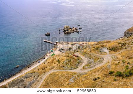 Top view of Sudak bay from the Genoese fortress, Crimea