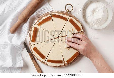 Women's Hands Prepare Sweets