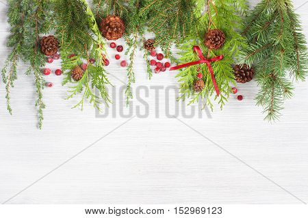 White Wooden Background With Evergreen Branches