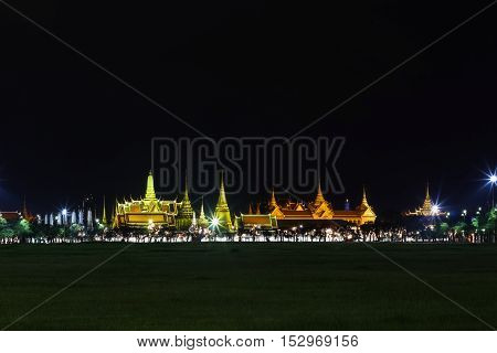 Wat Pra Kaew Public Temple Grand Palace At Night, Bangkok Thailand