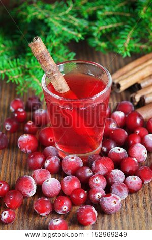 Сranberry drink with cinnamon in the glass