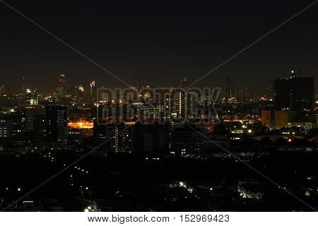 Wide angle of city scape at night scene