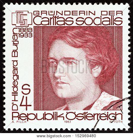 AUSTRIA - CIRCA 1983: A stamp printed in Austria issued for the birth centenary of Hildegard Burjan (founder of Caritas Socialis) shows Hildegard Burjan, circa 1983.