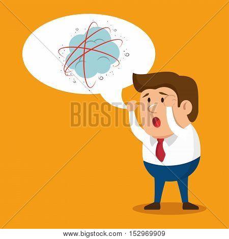 cartoon man business mental attack vector illustration eps 10