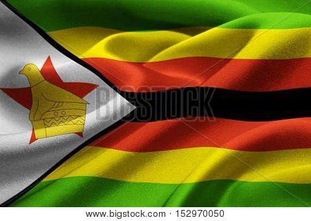 Close up of the national flag of Zimbabwe waving in the wind