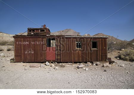 Abandoned Union Pacific carriage at the ghost town of Rhyolite in Nevada