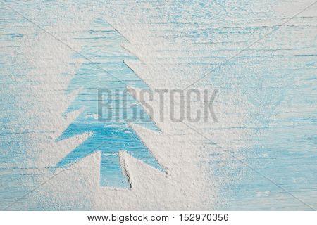 Christmas Background, Christmas Tree Shape On Rustic Wood