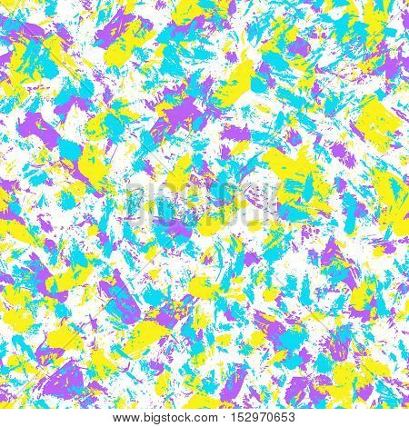 Vector grunge hand drawn seamless pattern. Pop art ink marble fabric texture. Blue purple yellow fashion abstract background.