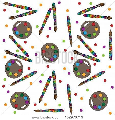 Art tools pattern with colorful brushes and paints on white background vector illustration for banner card invitation.