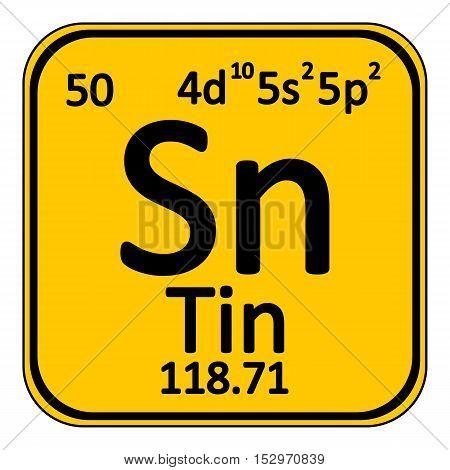 Periodic table element tin icon on white background. Vector illustration.