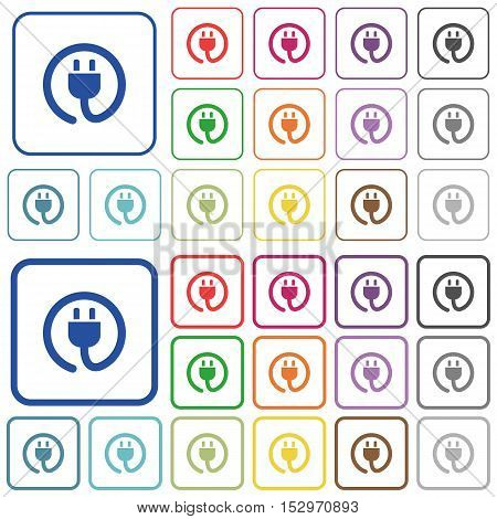 Power cord color icons in flat rounded square frames. Thin and thick versions included.