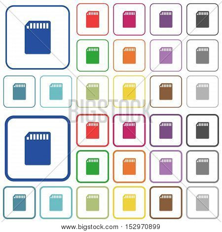 SD memory card color icons in flat rounded square frames. Thin and thick versions included.