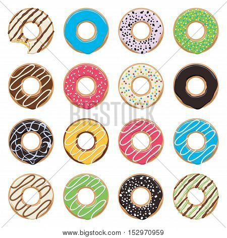 vector flat icons of glazed colorful donuts on white background