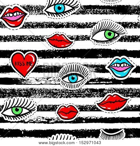 Hand drawn fashion patches eyes red lip heart seamless pattern. Vector beauty illustration of open and close eyes for card clothes background. Pop art sticker patche pin badge 80s-90s style