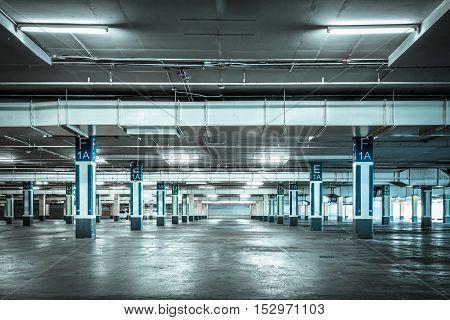 Parking garage interior industrial buildingEmpty underground parking background