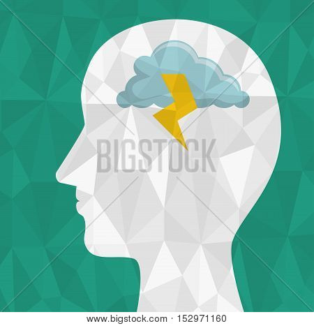 abstract silhouette head brainstorming think icon design vector illustration