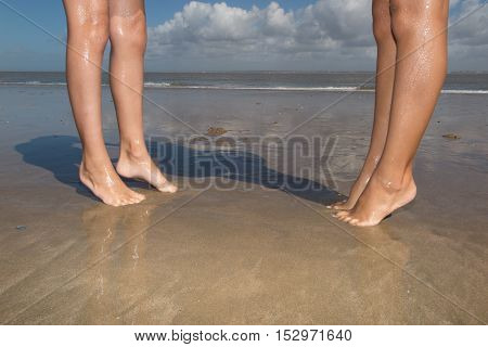 Beautiful Woman Legs, Walking On The Beach
