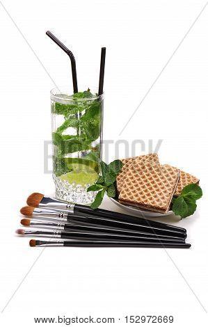 Makeup brushes set. Mojito. Waffles. Isolated. White background.