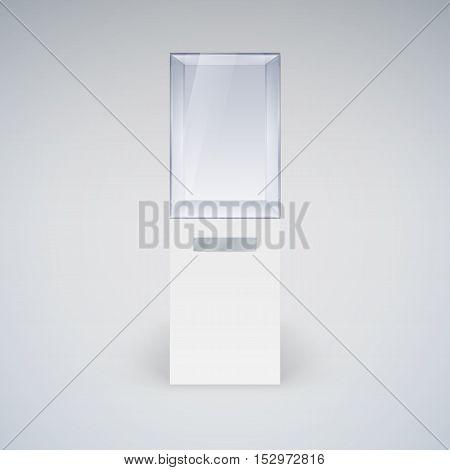 Empty Glass Showcase for Presentation on white Background