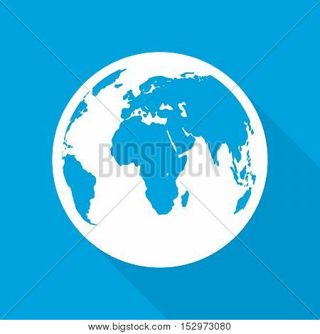 Planet Earth icon in flat design. Planet Earth with long shadow on a blue background. Vector illustration.