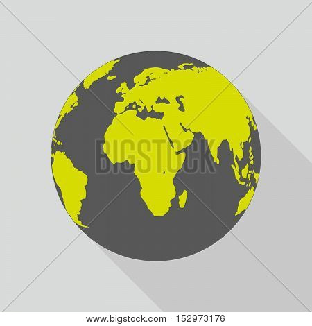 Planet Earth icon in flat design. Planet Earth with long shadow on a glay background. Vector illustration.