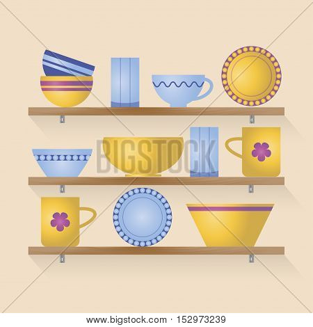 Kitchen shelves with colorful tableware. Vector illustration