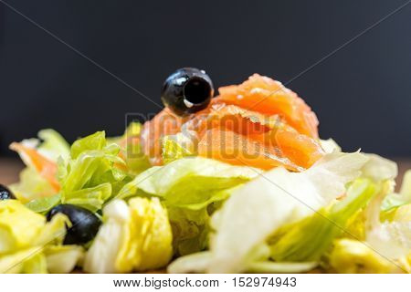Fresh seafood salad with smoked salmon