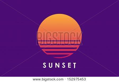 Sunet logo. Sun over the water. Minimalistic logo design